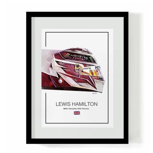 Lewis Hamilton 2019 F1 Art Helmet Print