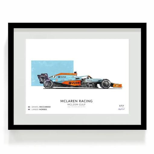 Daniel Ricciard F1 art Mclaren Gulf Print 2021