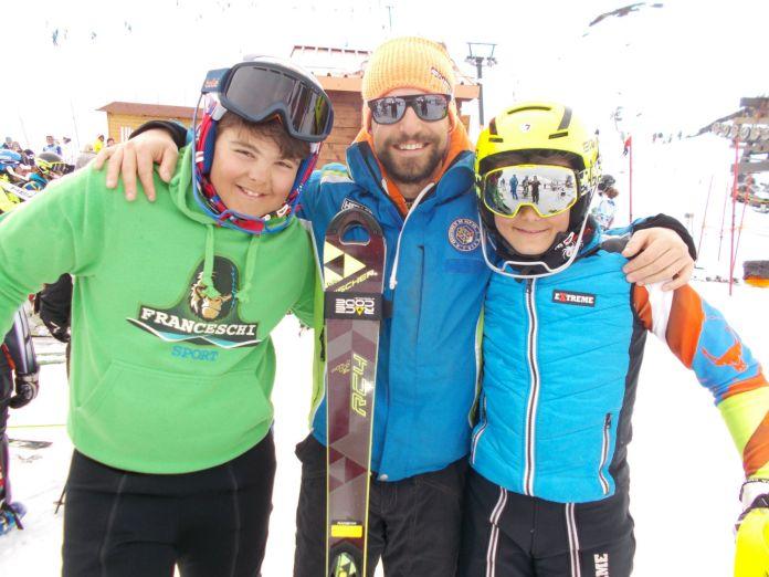 Il coach del campo Felice - Rocca di Cambio Giuliano Franceschi con Edoardo Cifola e Daniele Cocchetti ©Gabriele Pezzaglia