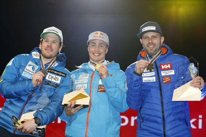 Da sinistra: Jansrud, Guay ed Osborne-Paradis sul podio iridato a St. Moritz 2017 (@Zoom agence)