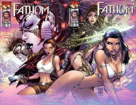 Fathom double page spread cover for Top Cow. Job Sibal's inks over the unforgettable Michael Turner.