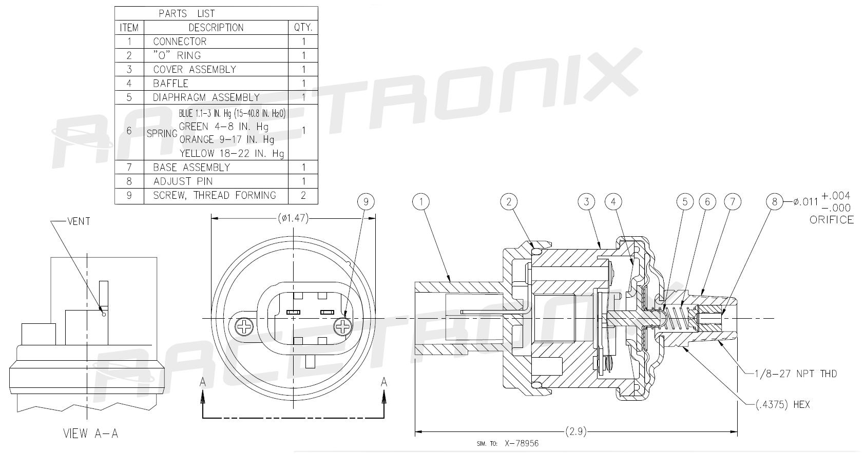 Pressure Switch 4psi Spst M P280s Hps 4 Pressure Switches