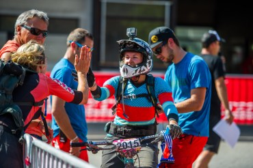 Mate Raewyn was ready at the finish with a high five! She came in 3rd!