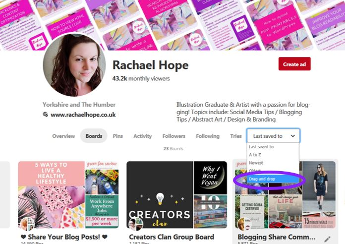 How to Arrange your Pinterest Boards