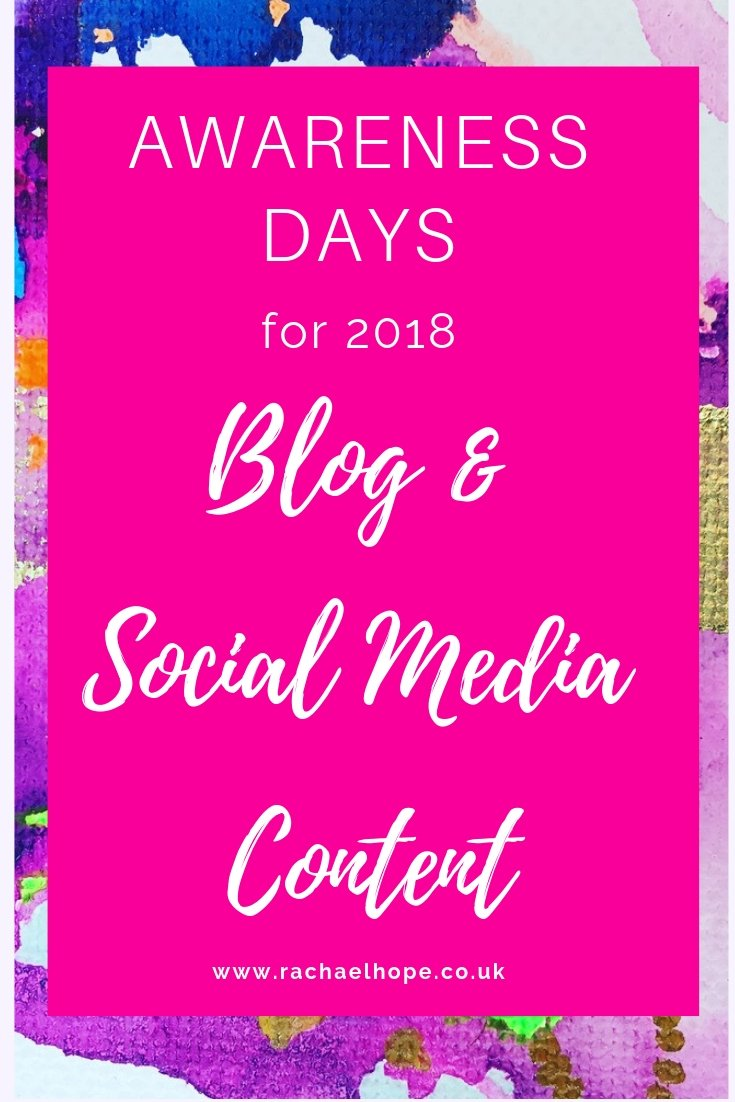 Coming up with decent content ideas constantly is HARD! Am I right? If I'm struggling for social media post ideas or blog content at work, I will check what awareness days are coming up. This affords me the opportunity to re-purpose / re-share some older content to make it relevant again. These awareness days also provide inspiration for new posts. #contenttips #blogtips #bloggingtips #socialmediatips