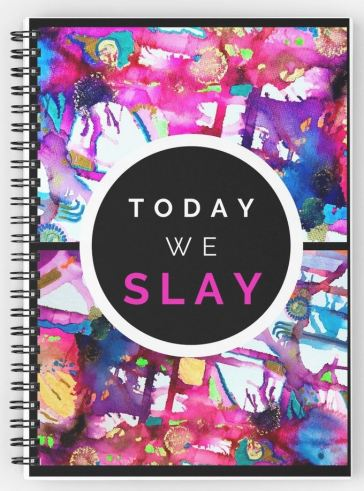 Calling all bloggers, fashionistas and those with exceptional taste. What's the point in SLAYING if no one else can clearly see that you're SLAYING? Buy my designs and let the whole world know you came to SLAY! As well as this totally radical Spiral Notebook, this design is also available on the following: #Totebag #Mug #Stickers #GreetingsCard #QuirkyDesign #UniqueGifts #notebook #BulletJournal