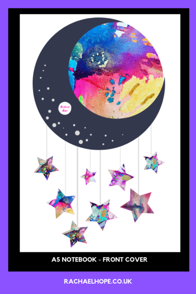 A5 Notebook Moon and Stars front