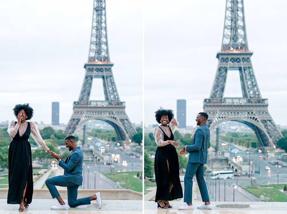 Marriage proposal in front of the Eiffel Tower