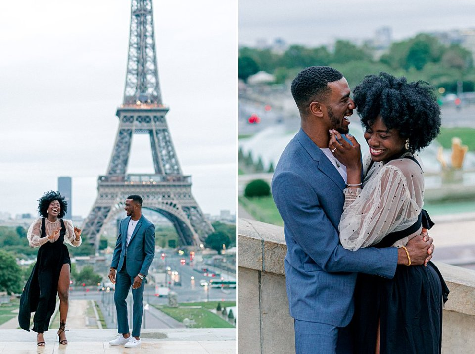 Engagement pictures in front of the Eiffel Tower