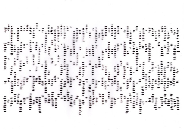 Imprisoned Codes, ink on paper, 21 x 30 by Rachela Abbate