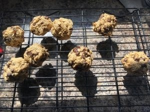 Tahini Cookie Bombs cooling on wire rack