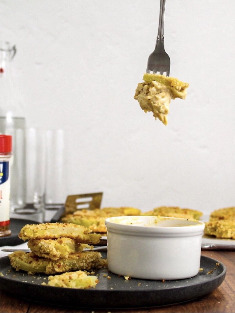 Gluten Free, Oven Fried Green Tomatoes with Remoulade