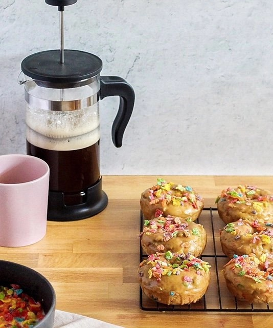 Fruity Pebbles and Coffee Baked Donuts