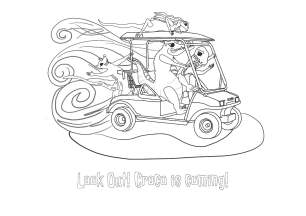 There's a Crocodile on the Golf Course by Rachel Barnett. Colouring Page - Golf Cart!