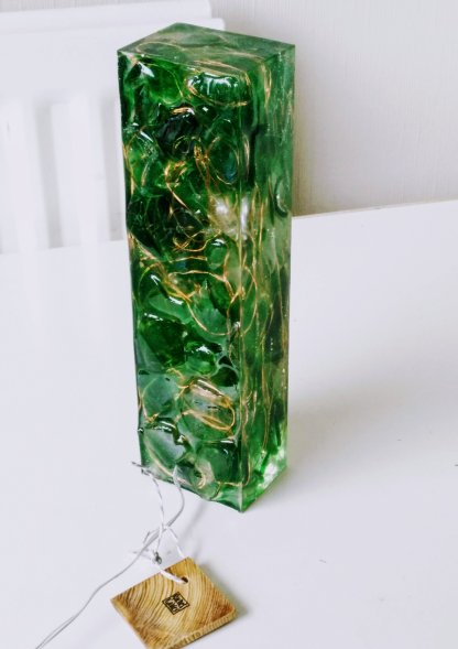 Sea glass and resin light sculpture