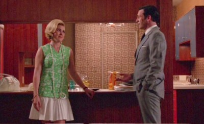 Rachel Cannon with John Hamm on the set of Mad Men