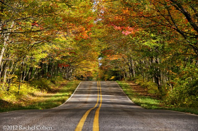 Loving the beauty of early autumn on a scenic rural road in the Upper Peninsula of Michigan.