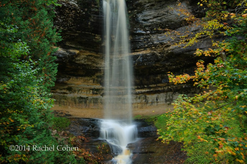 """Munising Falls in the beginning of autumn."