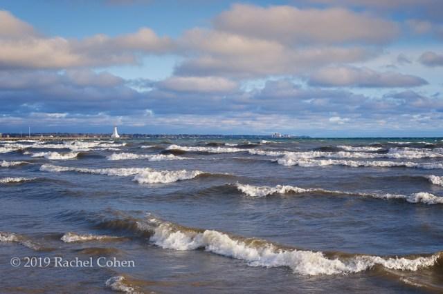 Strong waves roll onto the shore near Burlington, Ontario!