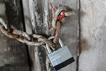 Photo of a chain and lock on a door