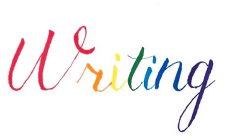 The word writing writing in a rainbow of colors.