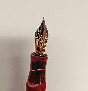 Photo of the two tone flex nib on my new Edison pen