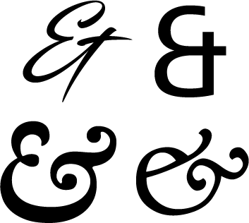 various versions of the ampersand