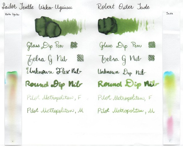 Comparison swatches and chromatography strips for Robert Oster Jade and Sailor Jentle Waka Uguisu