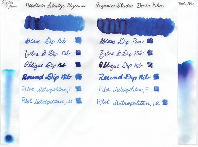 Comparison swatches and chromatography strips for Noodler's Liberty's Elysium and Organics Studio Bert's Blue