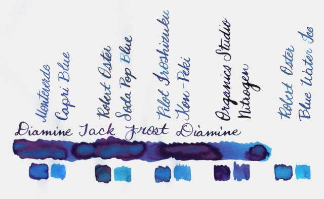Comparative swatches for Inkvent Day 14 ink Jack Frost