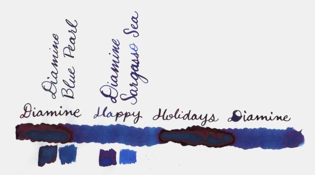 Comparative swatches for Inkvent Day 25 ink Happy Holidays