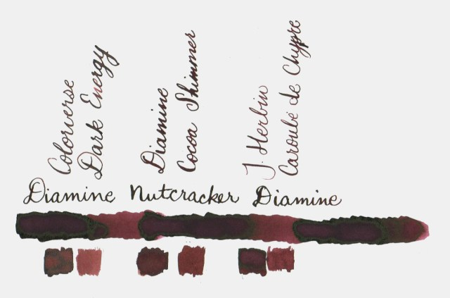 Comparative swatches for Inkvent Day 9 ink Nutcracker