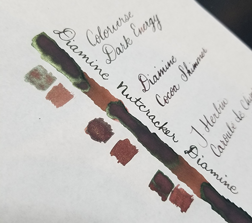Photograph showing ink sheen for Inkvent Day 9 ink Nutcracker