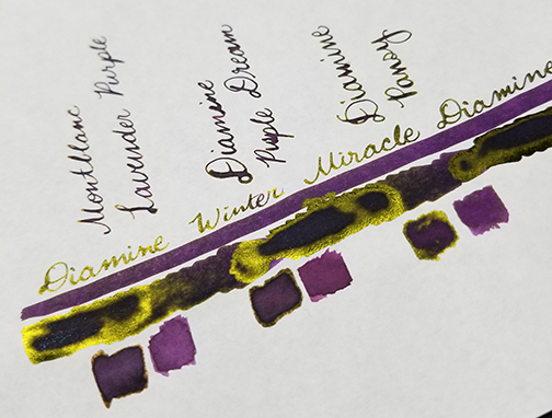 Photograph showing ink sheen for Inkvent Day 10 ink Winter Miracle