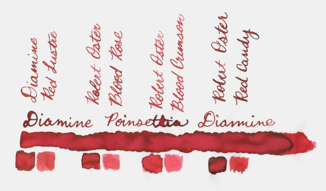 Comparative swatches for Inkvent Day 17 ink Poinsettia