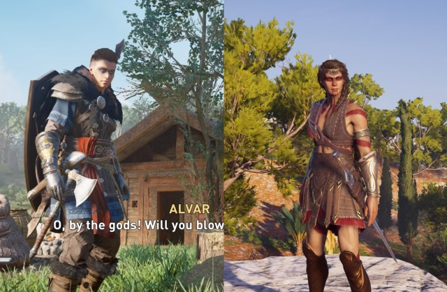 Comparison of protagonists Eivor (left) and Kassandra (right).