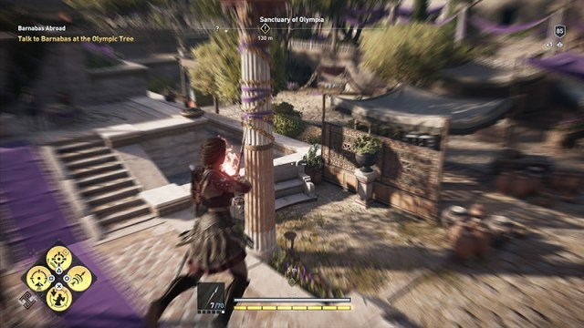 Time slows when you aim your bow as Kassandra leaps from a high height.