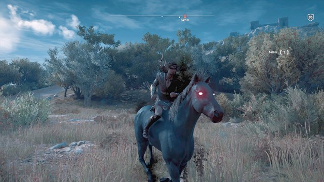 Screenshot illustrating Kassandra's position holding reigns even when her mount doesn't have reigns.