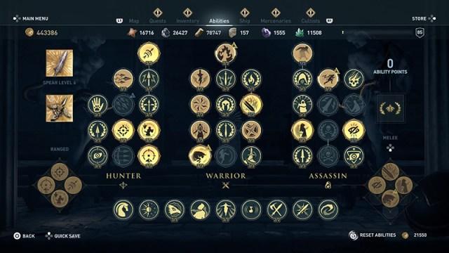Screenshot of Odyssey's skill tree