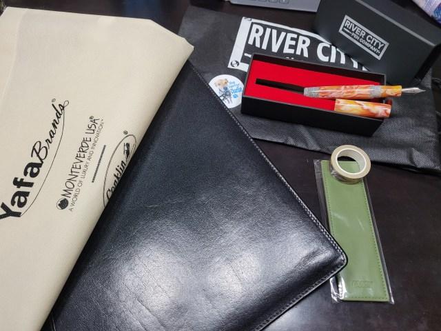 TPS haul: Show bag, girologio pen case, lamy pen sleeve, kenro washi tape, river city pen co pen and accoutrements.