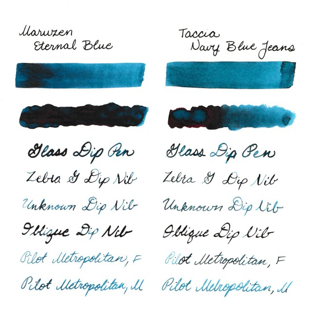 Comparison swabs between Eternal Blue and Navy Blue Jeans
