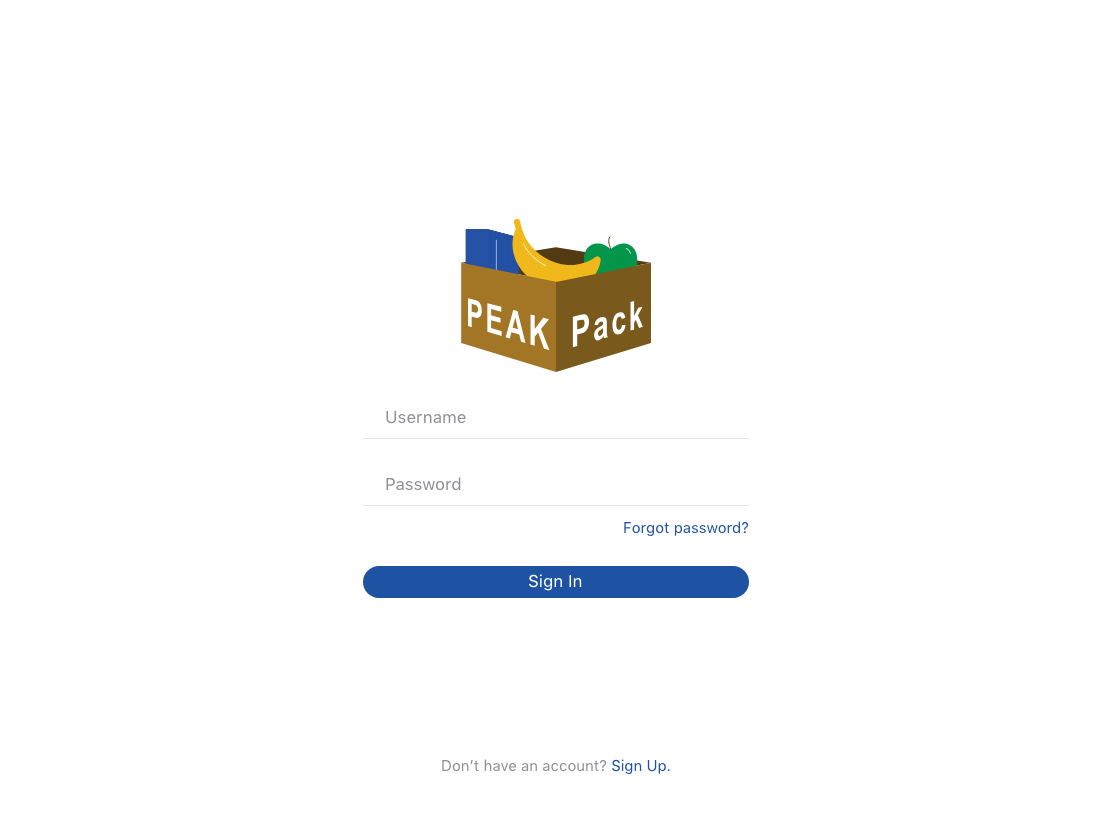 Login screen for PEAK Pack tablet app