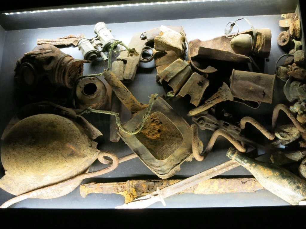 The only picture I took inside; it wasn't a very photographable museum. This shows items that were dug out of a muddy field quite recently.