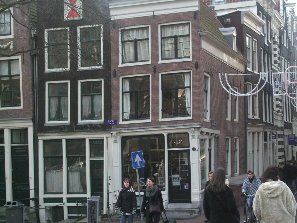 wonky buildings in Amsterdam