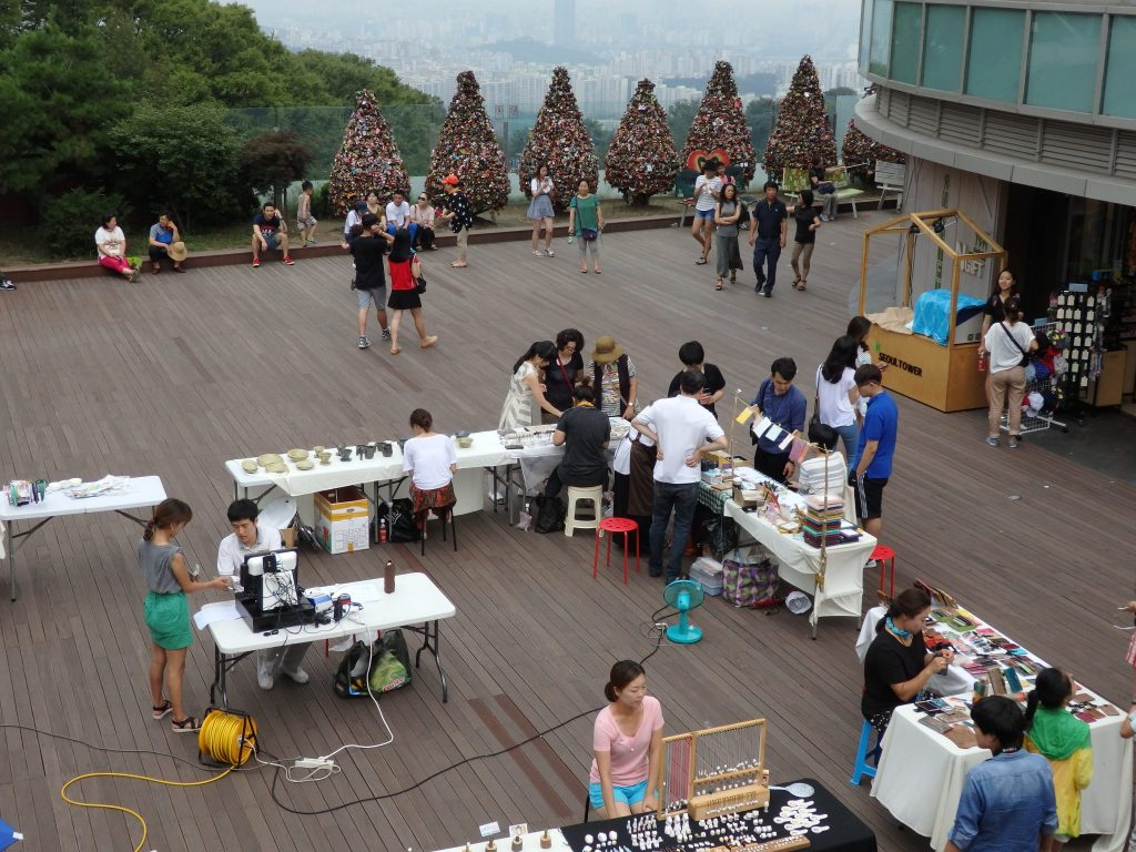 Crafts tables at Seoul Tower. Those