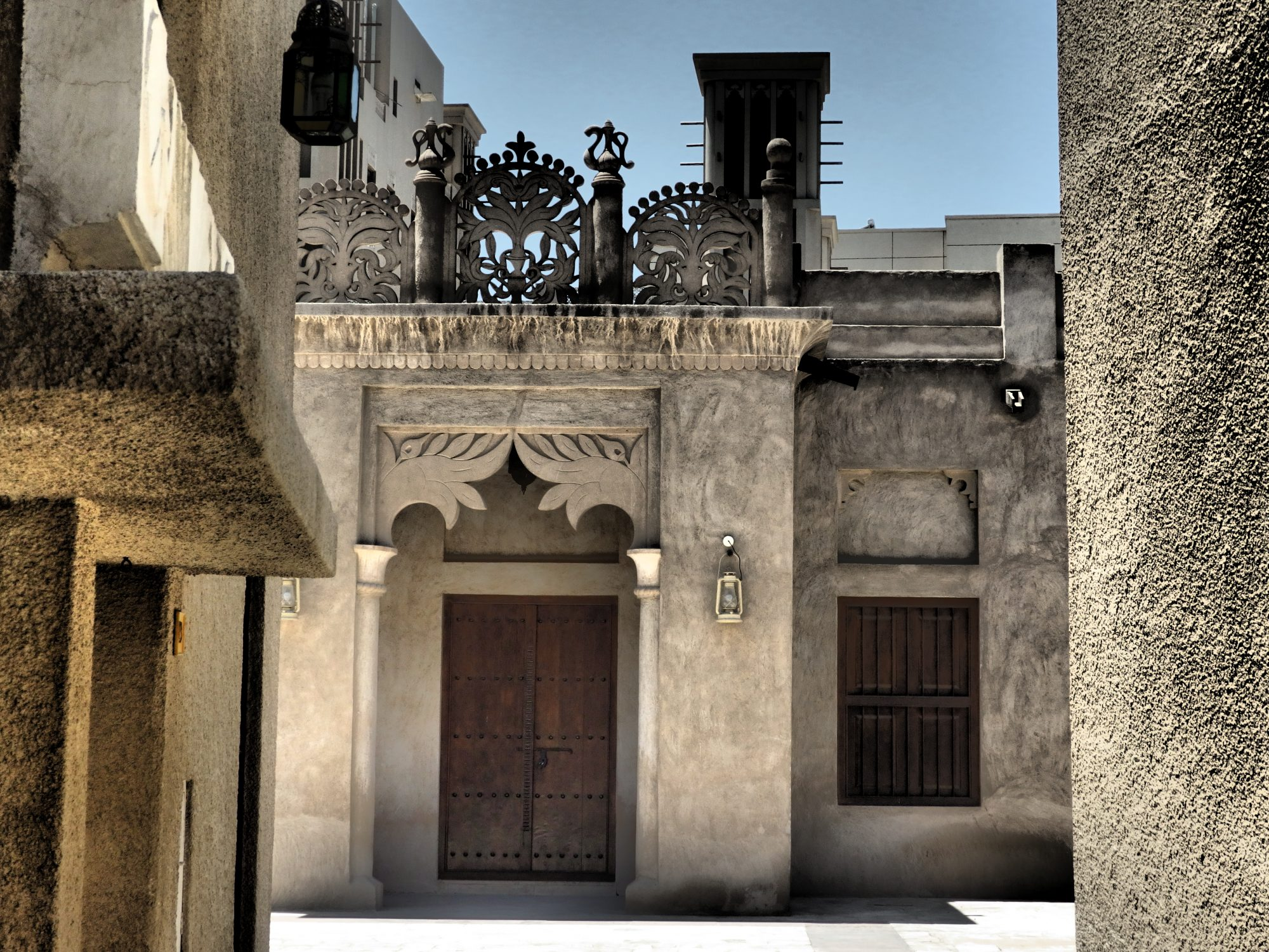 a streetscape in Old Dubai