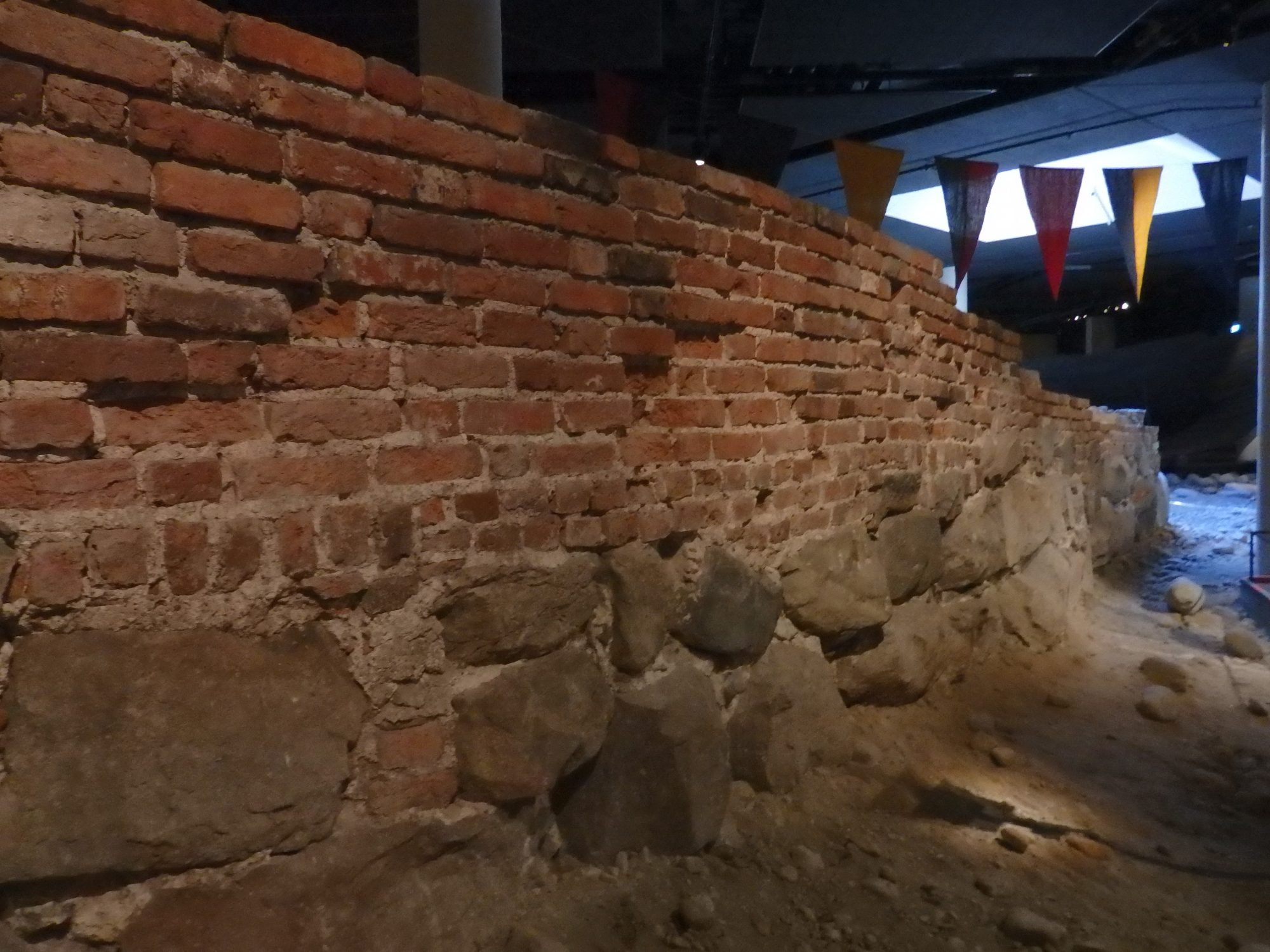 the city wall remains in the Medieval Museum in Stockholm