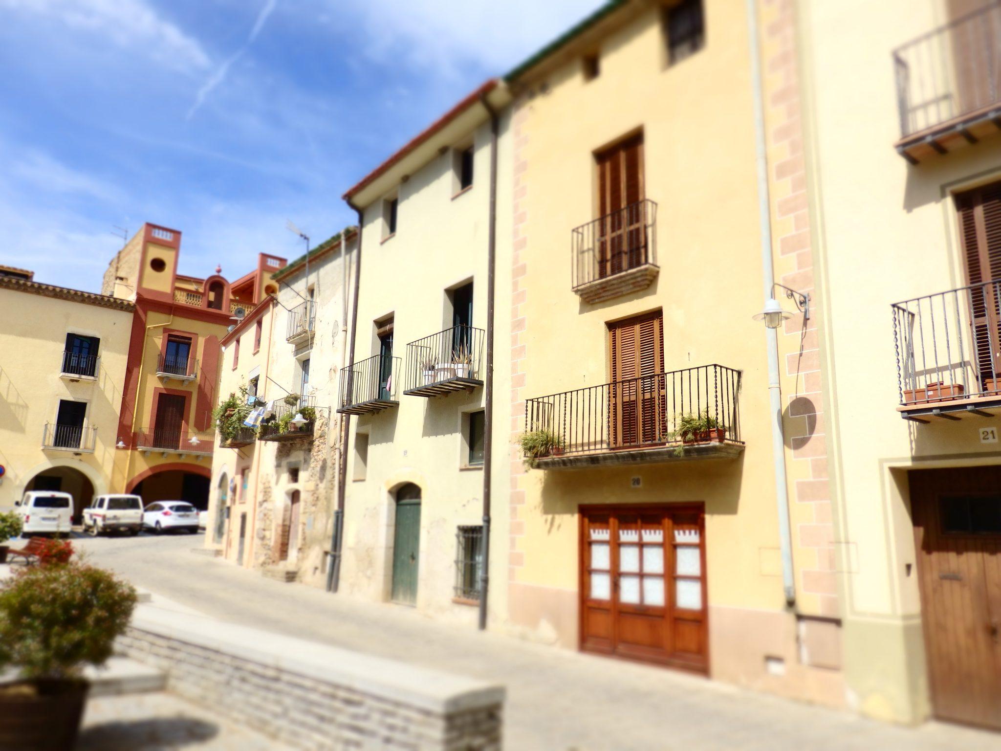 a pretty row of houses in Peratallada in the Baix Emporda, Spain