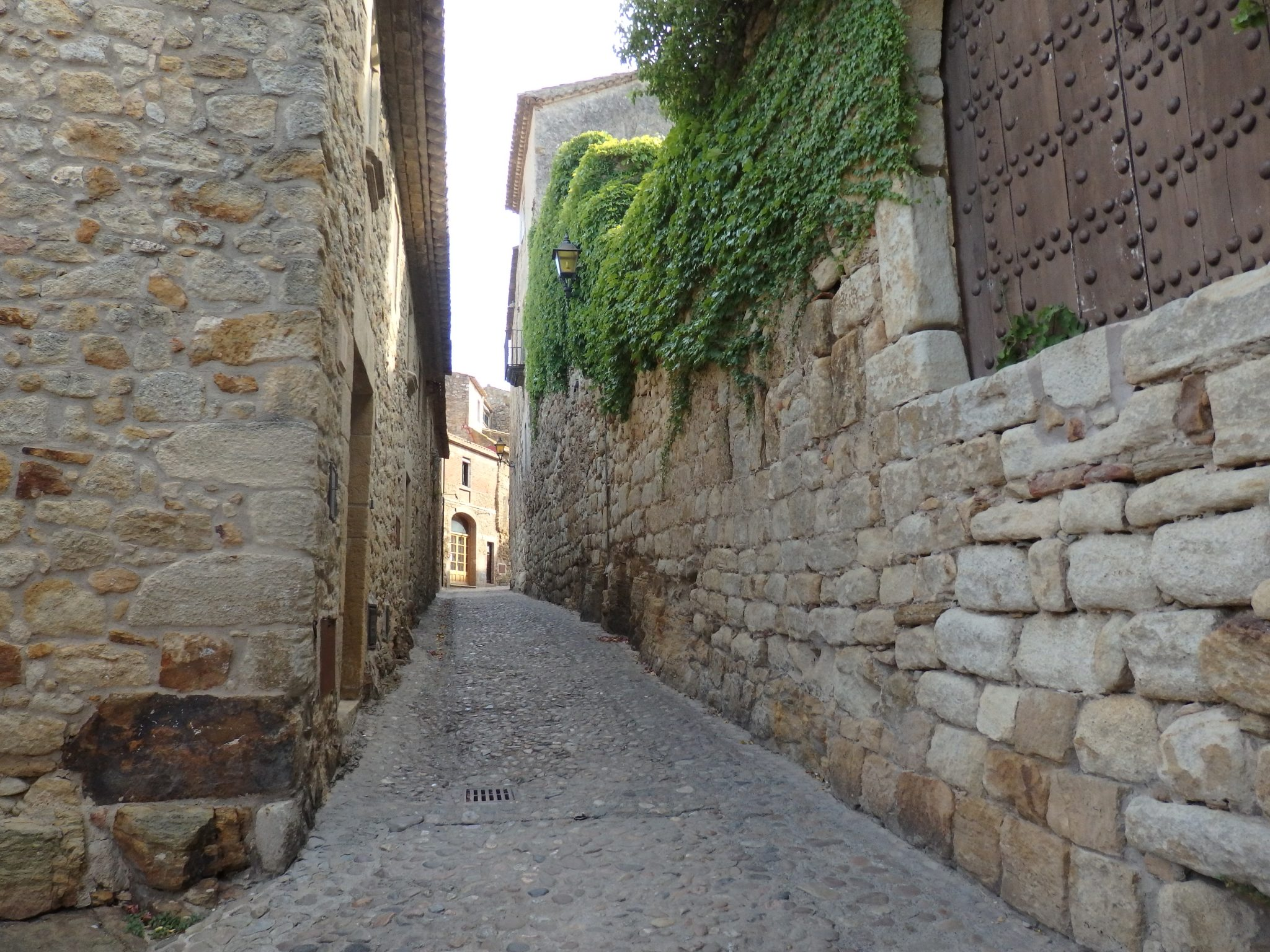 a stone paved street in Pals, in the Baix Emporda, Spain
