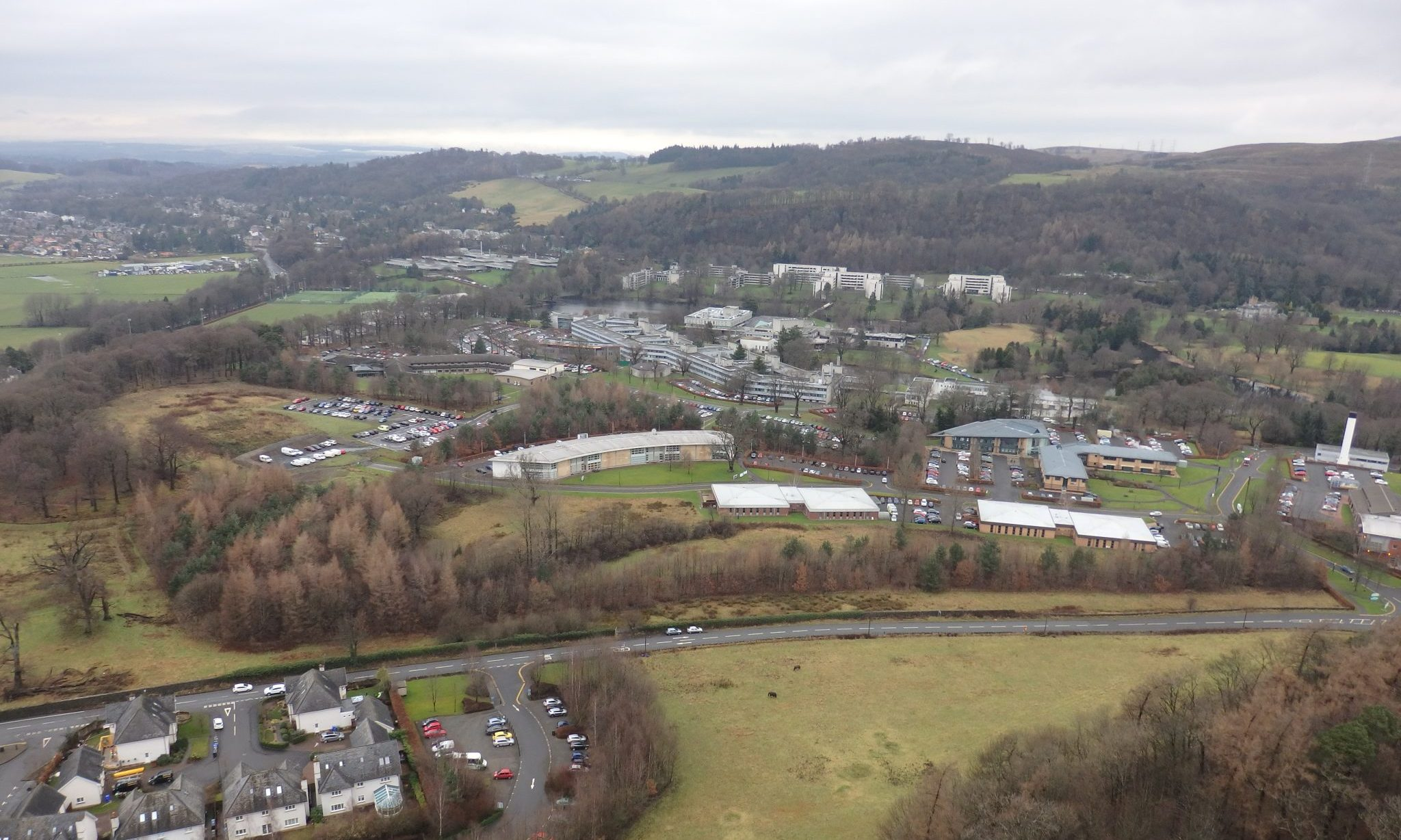 The Stirling University campus as seen from the Wallace memorial.